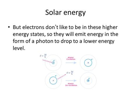 Solar energy But electrons don't like to be in these higher energy states, so they will emit energy in the form of a photon to drop to a lower energy level.