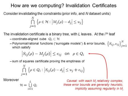 How are we computing? Invalidation Certificates Consider invalidating the constraints (prior info, and N dataset units) The invalidation certificate is.
