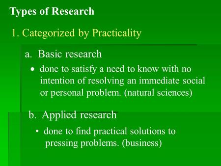 Types of Research 1. Categorized by Practicality a. Basic research  done to satisfy a need to know with no intention of resolving an immediate social.