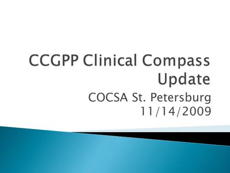 COCSA St. Petersburg 11/14/2009.  It is the mission of the CCGPP to provide accountable and representative leadership for the development, evaluation.