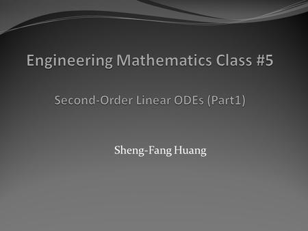 "Sheng-Fang Huang. Introduction If r (x) = 0 (that is, r (x) = 0 for all x considered; read ""r (x) is identically zero""), then (1) reduces to (2) y"