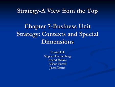 Strategy-A View from the Top Chapter 7-Business Unit Strategy: Contexts and Special Dimensions Crystal Hill Stephen Lechtenberg Anand McGee Allison Purtell.