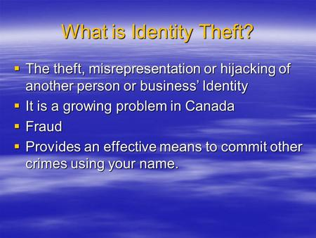 identity theft a growing crisis [ personal] [ business] [ surety bonds] [ reinsurance services] [ flood] [ understanding insurance terms] identity theft coverage identity theft is the fastest growing crime in the united.