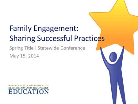 Family Engagement: Sharing Successful Practices Spring Title I Statewide Conference May 15, 2014.