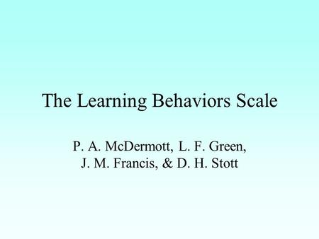 The Learning Behaviors Scale