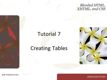 INTRODUCTORY Tutorial 7 Creating Tables. XP New Perspectives on Blended HTML, XHTML, and CSS2 Objectives Discern the difference between data tables and.