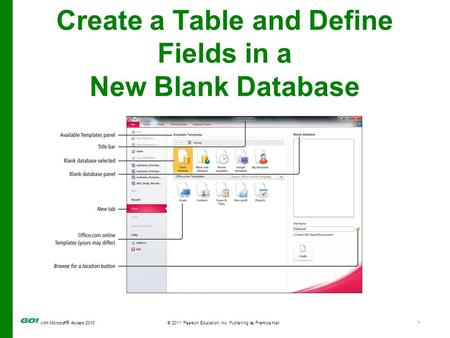 With Microsoft ® Access 2010© 2011 Pearson Education, Inc. Publishing as Prentice Hall1 Create a Table and Define Fields in a New Blank Database.