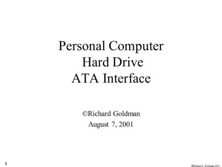 Personal Computer Hard Drive ATA Interface