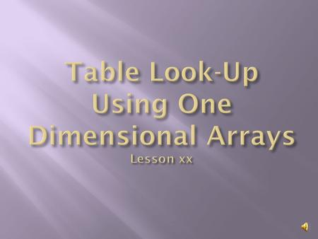  Write a program that uses a one dimension to do a table look-up  Learn about parallel arrays.