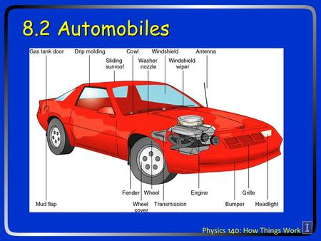 "8.2 Automobiles. What is a car engine? Physicists call it a ""heat engine"" The specific design is an ""internal combustion engine"""