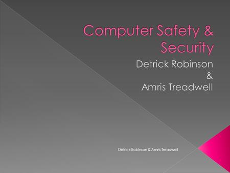 Detrick Robinson & Amris Treadwell.  Computer viruses- are pieces of programs that are purposely made up to infect your computer.  Examples: › Internet.
