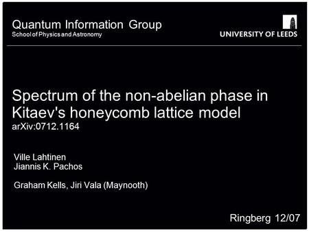 School of something FACULTY OF OTHER Quantum Information Group School of Physics and Astronomy Spectrum of the non-abelian phase in Kitaev's honeycomb.