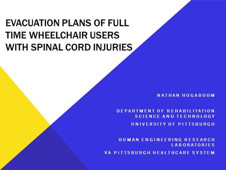 EVACUATION PLANS OF FULL TIME WHEELCHAIR USERS WITH SPINAL CORD INJURIES NATHAN HOGABOOM DEPARTMENT OF REHABILITATION SCIENCE AND TECHNOLOGY UNIVERSITY.