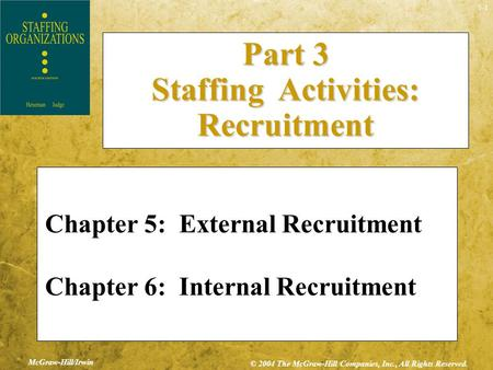 5-1 McGraw-Hill/Irwin © 2004 The McGraw-Hill Companies, Inc., All Rights Reserved. Chapter 5: External Recruitment Chapter 6: Internal Recruitment Part.