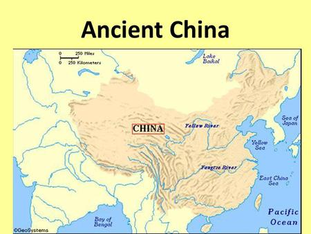 "Ancient China. Huang He (HWANG HUH) River: means ""yellow river"" Stretches east across China More than 2,900 miles long Begins in western mountains and."