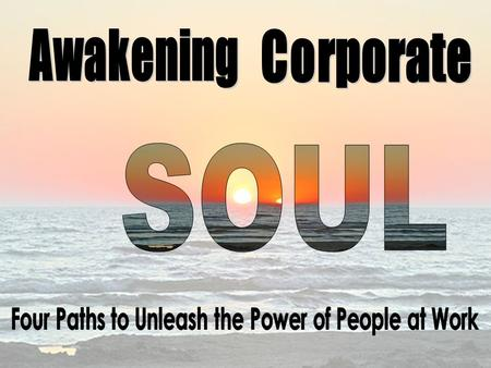 Soul awakens when people are aware of their own passion, in touch with their core values, and when they actively bring these in their daily.