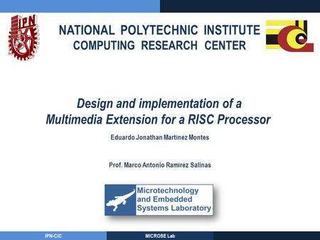 NATIONAL POLYTECHNIC INSTITUTE COMPUTING RESEARCH CENTER IPN-CICMICROSE Lab Design and implementation of a Multimedia Extension for a RISC Processor Eduardo.