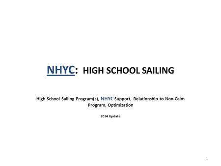 NHYC: HIGH SCHOOL SAILING High School Sailing Program(s), NHYC Support, Relationship to Non-Calm Program, Optimization 2014 Update 1.