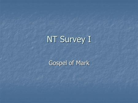 "NT Survey I Gospel of Mark. Matthew's Use of the Old Testament The formula: ""that what was spoken through the prophet might be fulfilled"" or something."