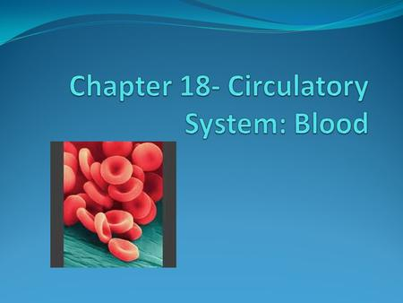 Roles of Blood Respiration Nutrition Waste elimination Thermoregulation Immune system Water and Acid/base balance Internal communication.