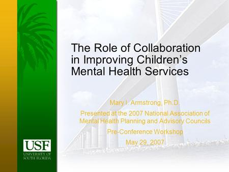 The Role of Collaboration in Improving Children's Mental Health Services Mary I. Armstrong, Ph.D. Presented at the 2007 National Association of Mental.