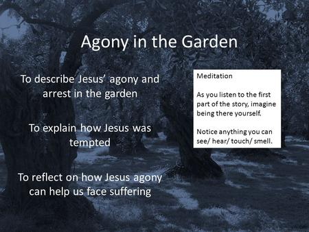 Agony in the Garden To describe Jesus' agony and arrest in the garden To explain how Jesus was tempted To reflect on how Jesus agony can help us face suffering.