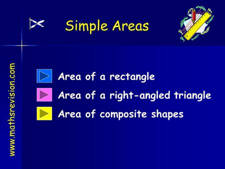 Area of a rectangle Area of composite shapes Area of a right-angled triangle www.mathsrevision.com Simple Areas.