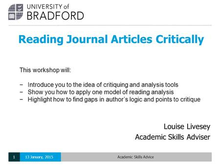 Reading Journal Articles Critically