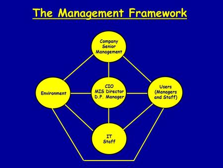 The Management Framework Company Senior Management Environment CIO MIS Director D.P. Manager Users (Managers and Staff) IT Staff.