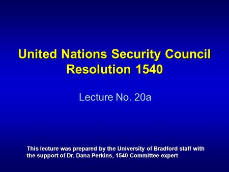 United Nations Security Council Resolution 1540