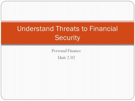 Personal Finance Unit 2.02 Understand Threats to Financial Security.
