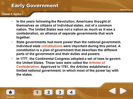 Early Government Chapter 5, Section 1