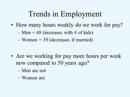 Trends in Employment How many hours weekly do we work for pay?