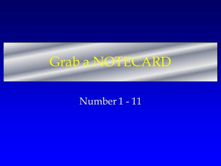 Grab a NOTECARD Number 1 - 11. Match! 1.Number of Articles in Constitution 2.Article Number of Legislative Branch 3.A proposed Law 4.Smaller Portion of.