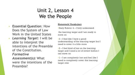 Unit 2, Lesson 4 We the People Essential Question: How Does the System of Law Work in the United States Learning Target: I will be able to interpret the.