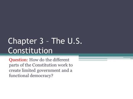 Chapter 3 – The U.S. Constitution