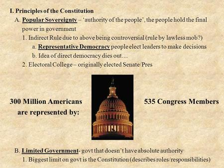 I. Principles of the Constitution A. Popular Sovereignty – 'authority of the people', the people hold the final power in government 1. Indirect Rule due.