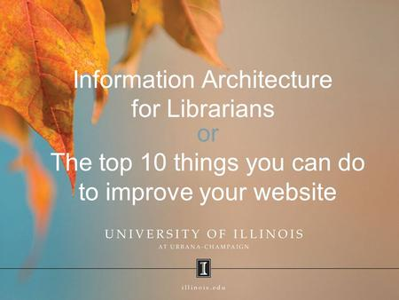 Information Architecture for Librarians or The top 10 things you can do to improve your website.