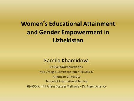 Women's Educational Attainment and Gender Empowerment in Uzbekistan