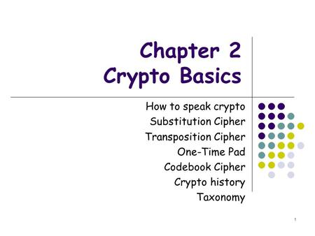 Chapter 2 Crypto Basics How to speak crypto Substitution Cipher