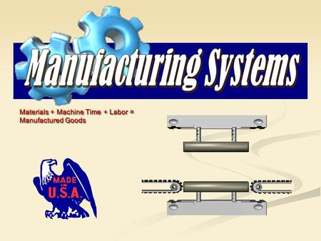 Materials + Machine Time + Labor = Manufactured Goods Materials + Machine Time + Labor = Manufactured Goods.