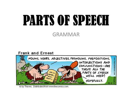 PARTS OF SPEECH GRAMMAR. 8 PARTS OF SPEECH 1)Noun 2) Pronoun 3) Verb 4) Adjective 5) Adverb 6) Preposition 7) Conjunction 8) Interjection.