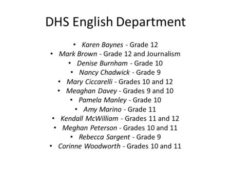DHS English Department