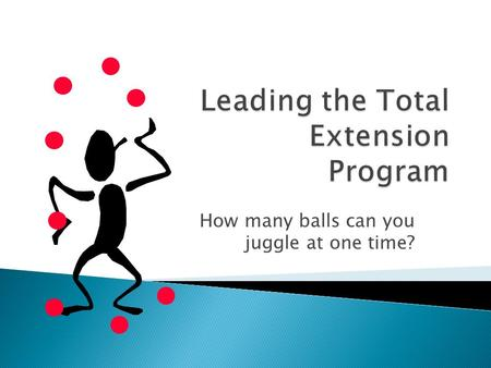 How many balls can you juggle at one time?. Identify 7 balls extension middle managers juggle every day in leading the extension program Identify strategies.