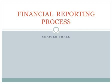 CHAPTER THREE FINANCIAL REPORTING PROCESS. PRINCIPLE – Revenue Recognition Revenue is recognized when it is earned not paid Expenses are recognized when.
