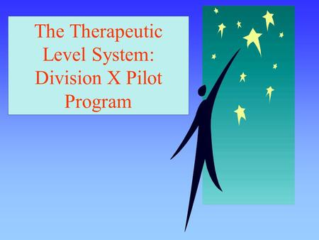 The Therapeutic Level System: Division X Pilot Program.