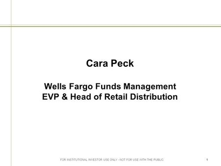 FOR INSTITUTIONAL INVESTOR USE ONLY - NOT FOR USE WITH THE PUBLIC1 Cara Peck Wells Fargo Funds Management EVP & Head of Retail Distribution.