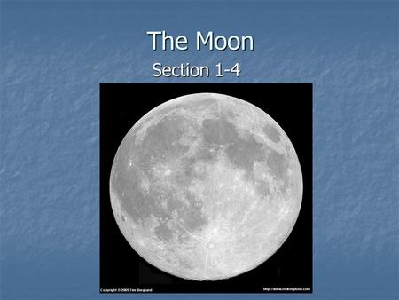 The Moon Section 1-4.