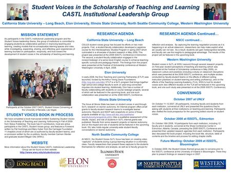 Student Voices in the Scholarship of Teaching and Learning CASTL Institutional Leadership Group California State University – Long Beach, Elon University,