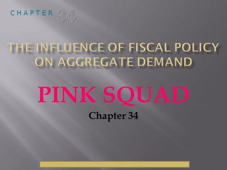 © 2009 South-Western, a part of Cengage Learning, all rights reserved C H A P T E R PINK SQUAD Chapter 34.